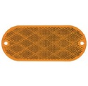 "4-7/16"" x 1-15/16"" Amber Oval Screw Mount and Self-Adhesive Reflector, 3-15/16"" Between Centers of Mounting Holes"