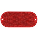 "4-7/16"" x 1-15/16"" Red Oval Screw Mount and Self-Adhesive Reflector, 3-15/16"" Between Centers of Mounting Holes"
