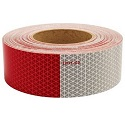"6"" Red/6"" Silver 2"" Alternating Pattern Reflective Tape, 150' Roll"