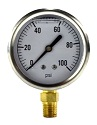 "2-1/2"" Liquid Filled Gauge with 1/4"" Brass Connection, 0-100 PSI"