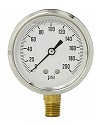 "2-1/2"" Liquid Filled Gauge with 1/4"" Brass Connection, 0-200 PSI"