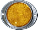 "3"" Amber Round Reflector with Oval Aluminum Mounting Plate"