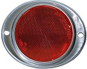 "3"" Red Round Reflector with Oval Aluminum Mounting Plate"