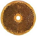 "2-3/8"" Amber Round Reflector with 1/4"" Center Mounting Hole"
