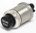 34A-12V, 20A-24V SPST Off-On, Normally Off Engine Start/Engine Stop Momentary Push-Button Switch w/ Built-In Seal Around Lip